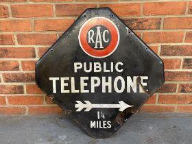 RAC Public Telephone Double Sided Enamel Sign