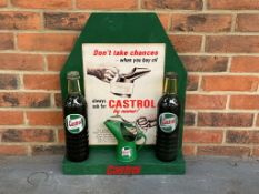 Modern Castrol Counter Display With Two Original Oil Bottles