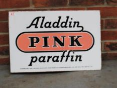 Aladdin Pink Paraffin Double Sided Vintage Enamel Flanged Sign