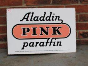 Aladdin Pink Paraffin Double Sided Vintage Enamel Flanged Sign