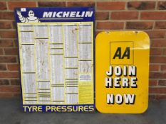 Michelin Tin Tyre Pressure Chart Together With A Double sided AA Join Here Now Metal Sign