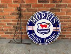 Original Morris Retail Dealer Double Sided Enamel Sign with Bracket