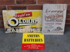 Three Signs, Oldham Batteries, Smiths Batteries And Vacu-luc Sign