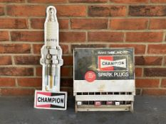 Champion Tin Spark Plug Sign Together With A Counter Top Dispenser