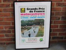 A Framed 1969 Grand Prix De France Le Mans Motocyclistes Poster