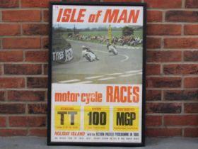 Framed Original Isle Of Man 1969 Racing Poster