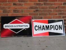 Briggs & Stratton Pressed Metal Sign Together With Champion Spark Plugs Sign