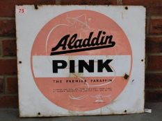 Aladdin Pink Paraffin Single Sided Vintage Enamel Sign