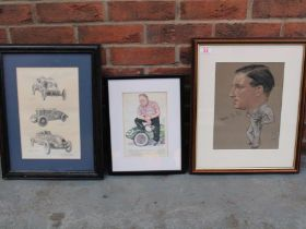 Original Framed Picture Of SD Owen By Russell Houston A Michael Turner Print And One Other