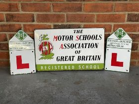 The Motor Schools Association Great Britain Enamel Sign Together With Two Enamel L Plates