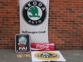 FAI Stockist Sign, Coca Cola Sign, Modern Metal Castrol Sign, Large Lotus Sticker And Skoda Auto Fla