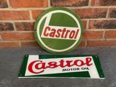 Modern Cast Iron Castrol Motor Oil Sign Together With A Castrol Circular Enamel Sign