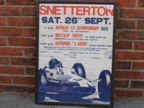 Original Framed 1960's Snetterton Motor Racing Poster
