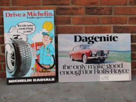 Michelin Radial Carboard Easel Back Sign Together With A Dagenite Rolls Royce Carboard Sign