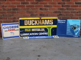 Two Varta Batteries Signs, Chloride With Exide Sign And Duckhams Motor Oil Sign