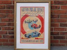 1952 Framed Grand Prix De France Saint-Gaudens Poster