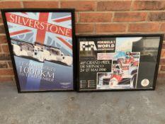Framed Silverstone Le Mans Series 1000km Poster & 1990 Monaco Grand Prix Poster