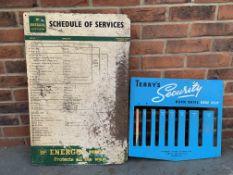 BP Schedule Of Service Board & Terrys Security Worm Drive Hose Clip Board