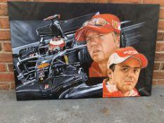 Unframed Oil On Canvas Of Ferrari Formula 1 By Craig Warwick