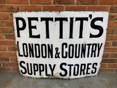 Original Pettits London & Country Supply Store Enamel Sign