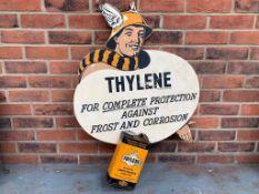 Original Thylene Anti-Freeze Advertising Board & Can