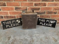"""RB & Co Vintage Petrol Can & Two Aluminium This Pump Please"""" Sign"""""""