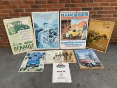 Eight Unframed Motoring Related Pictures On Board