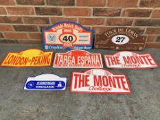 Seven classic Car Rally Plaques