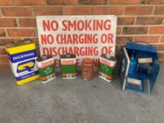 Mixed Lot Warning Sign, Castrol & Duckhams Oil Cans