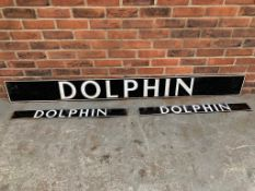Three Dolphin Enamel Signs