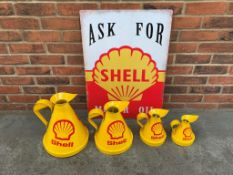 Modern Tin Shell Sign & Four Oil Cans