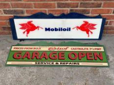 Modern Castrol Garage Open Sign & Mobiloil Sign