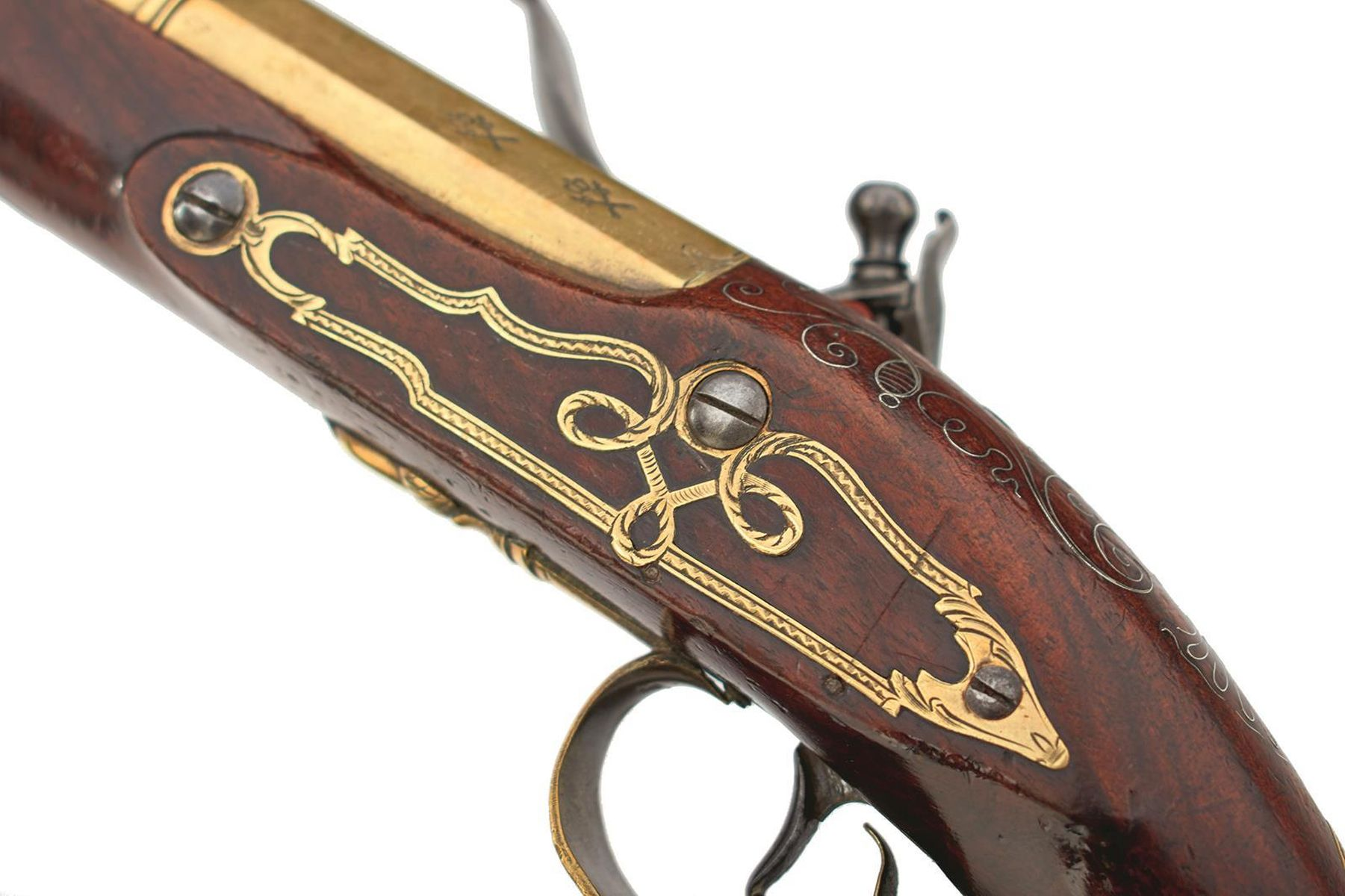 A CASED PAIR OF 6-BORE FLINTLOCK BRASS BARRELLED BLUNDERBUSS PISTOLS BY TAYLER, 9inch four stage - Image 6 of 25