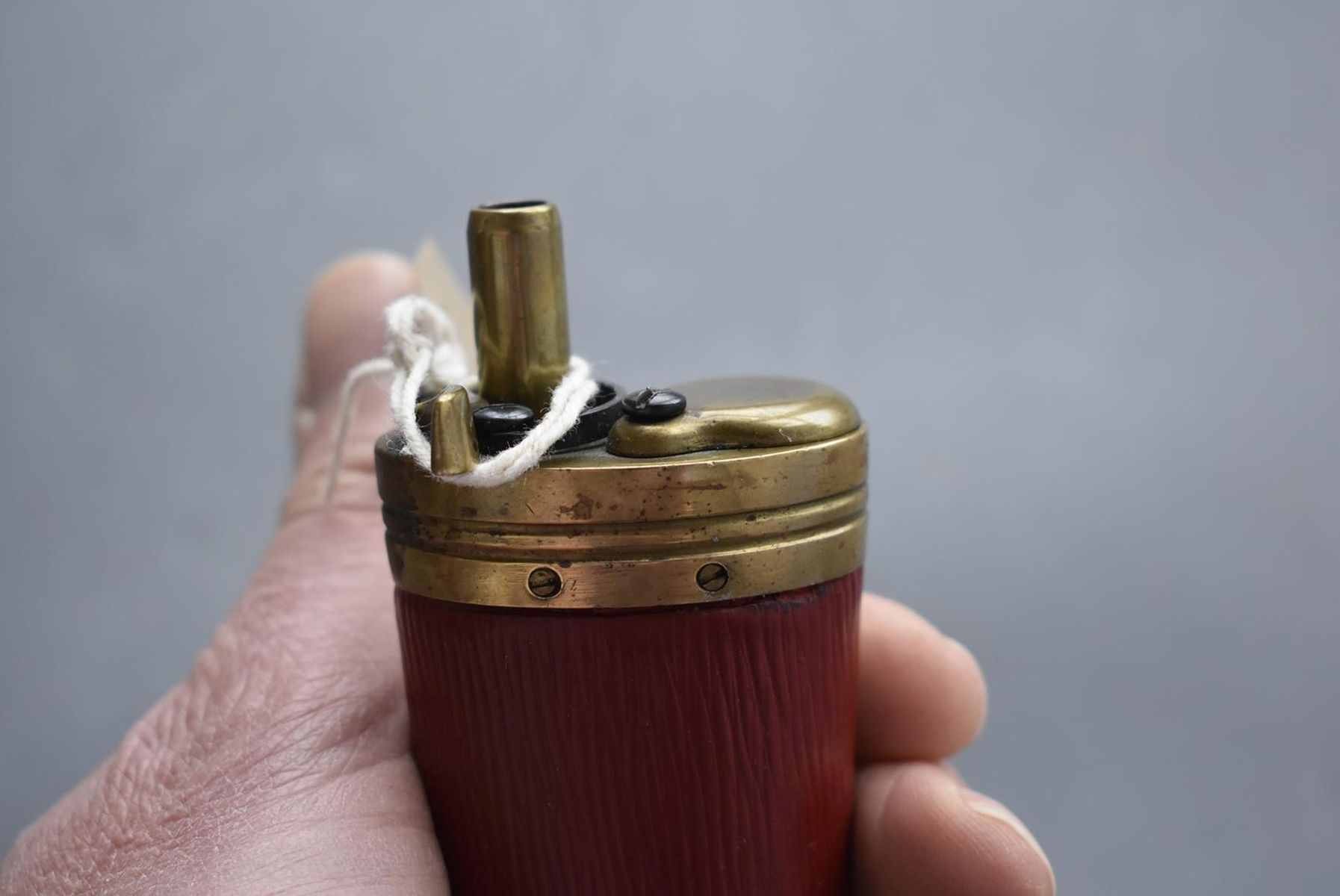 A GOOD COPY OF THREE-WAY POWDER FLASK, the brass mounted red leather wrapped tapering body with - Image 7 of 10