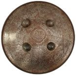 A PAIR OF 19TH CENTURY INDAN DHAL OR SHIELDS, each of characteristic convex form and 52.5cm in