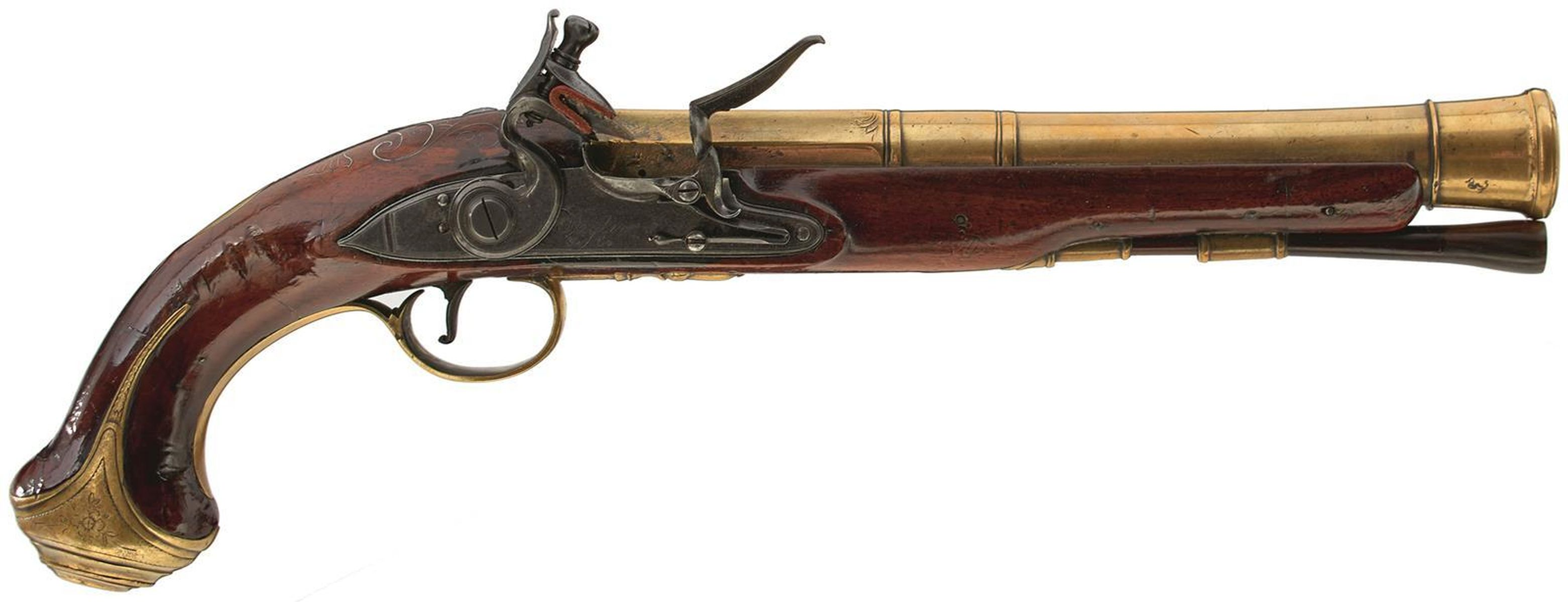 A CASED PAIR OF 6-BORE FLINTLOCK BRASS BARRELLED BLUNDERBUSS PISTOLS BY TAYLER, 9inch four stage - Image 3 of 25
