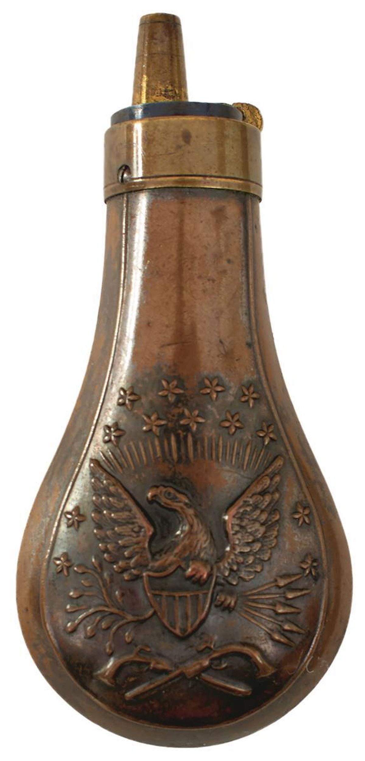 AN EMBOSSED COPPER POWDER FLASK, the lacquered copper body decorated with, stars, an eagle and