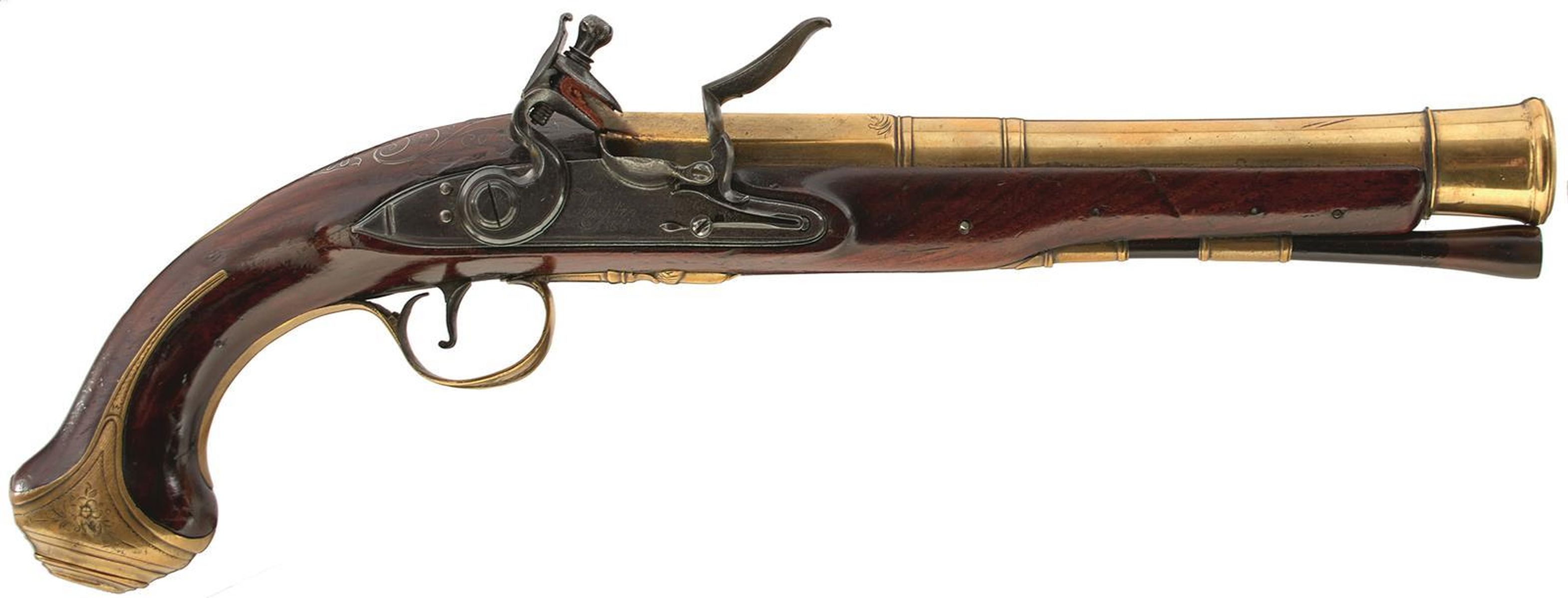 A CASED PAIR OF 6-BORE FLINTLOCK BRASS BARRELLED BLUNDERBUSS PISTOLS BY TAYLER, 9inch four stage - Image 4 of 25