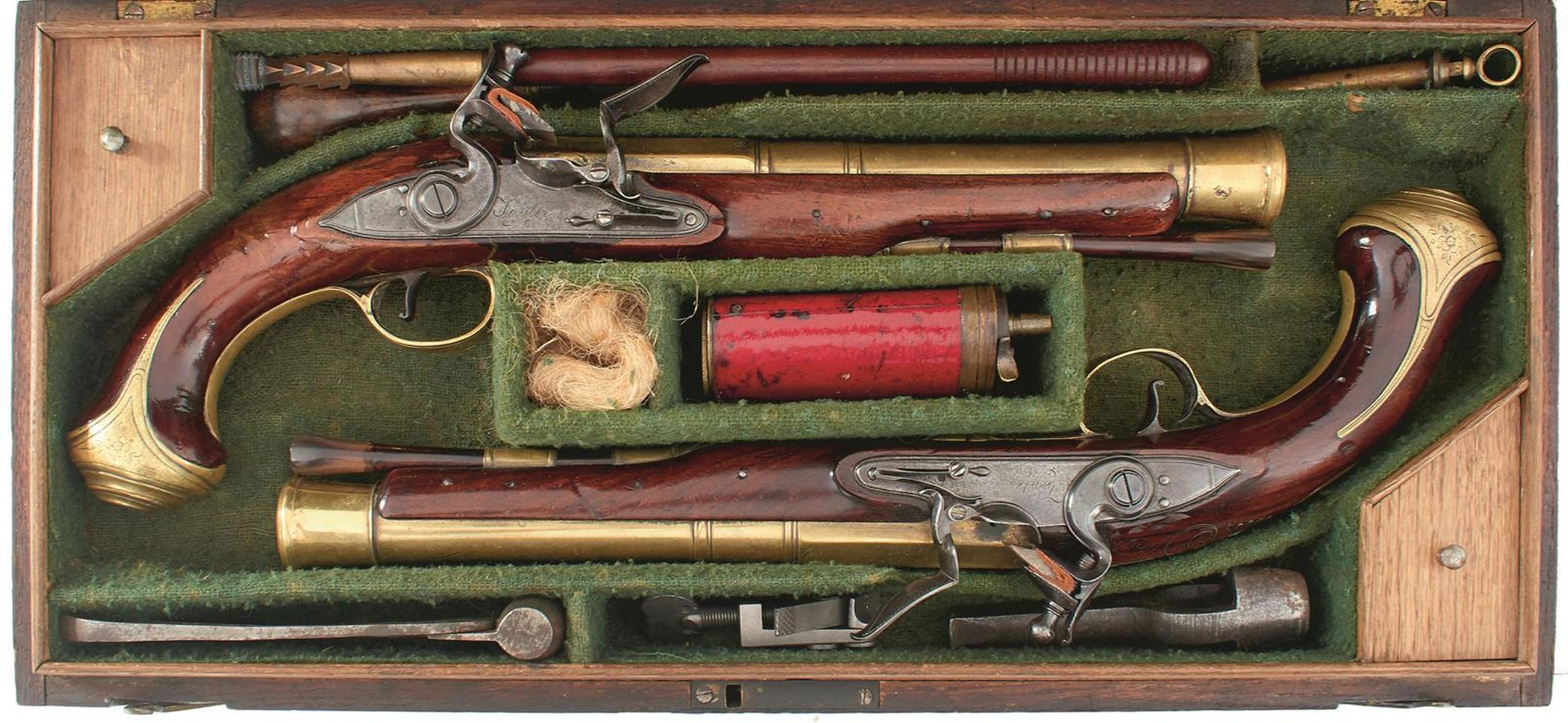 A CASED PAIR OF 6-BORE FLINTLOCK BRASS BARRELLED BLUNDERBUSS PISTOLS BY TAYLER, 9inch four stage