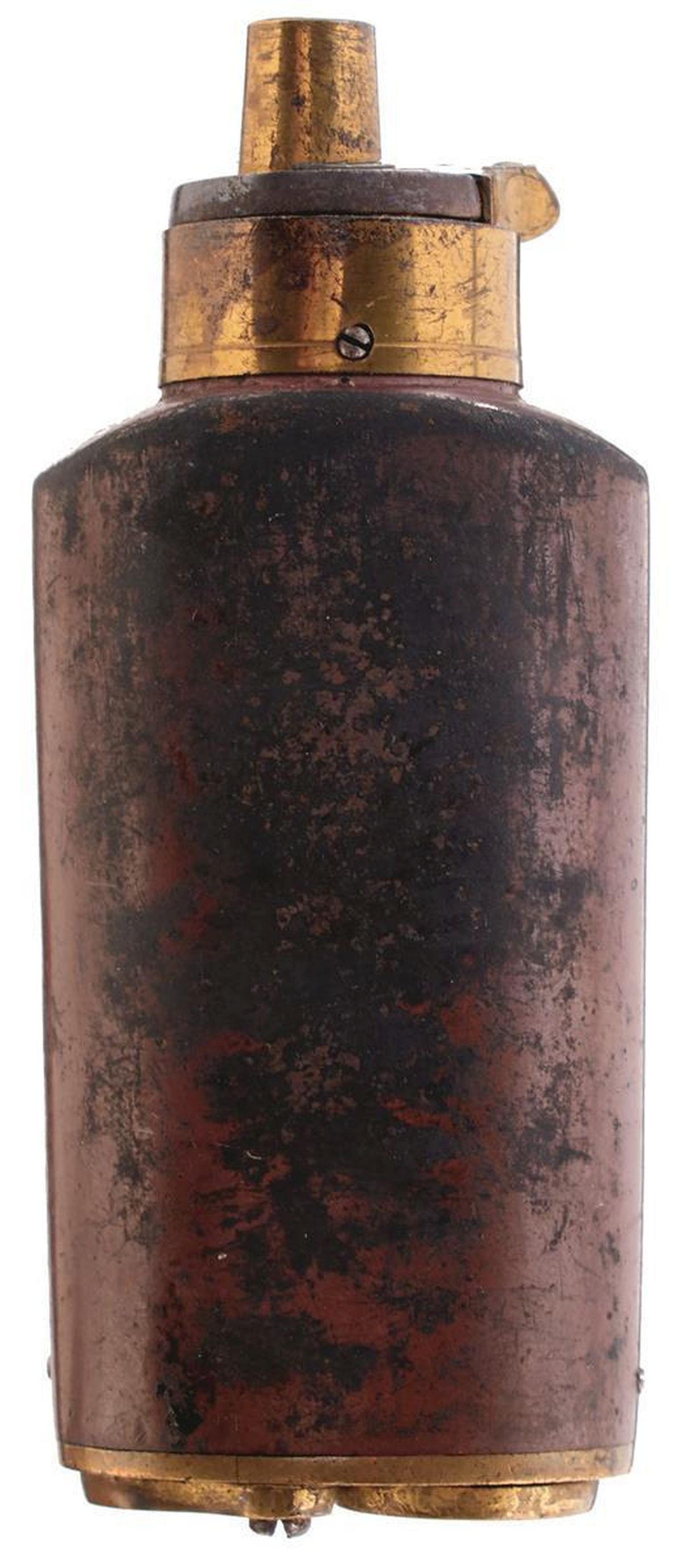 A THREE WAY PERCUSSION POWDER FLASK, sprung gilt top, lacquered copper body, gilt base with two