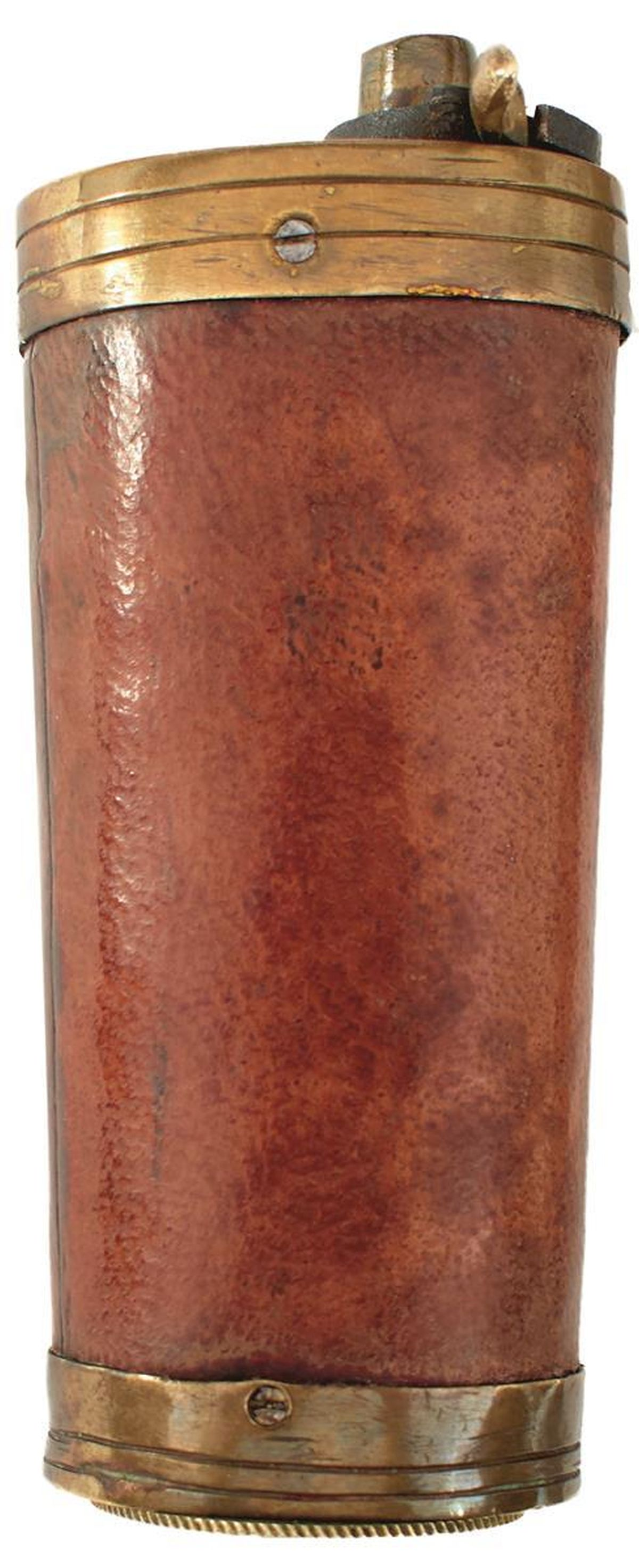 A THREE-WAY POWDER FLASK, the brass mounted brown leather wrapped tapering body with screw-off base,