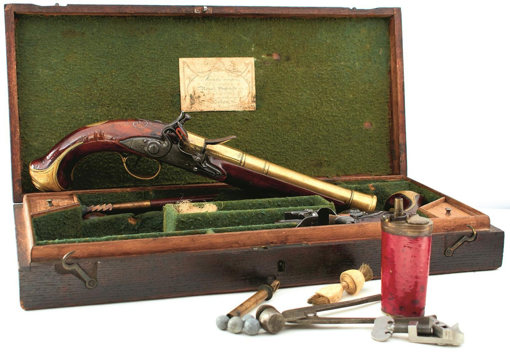 A CASED PAIR OF 6-BORE FLINTLOCK BRASS BARRELLED BLUNDERBUSS PISTOLS BY TAYLER, 9inch four stage - Image 2 of 25
