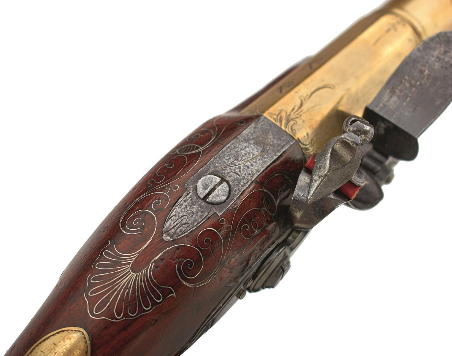 A CASED PAIR OF 6-BORE FLINTLOCK BRASS BARRELLED BLUNDERBUSS PISTOLS BY TAYLER, 9inch four stage - Image 5 of 25
