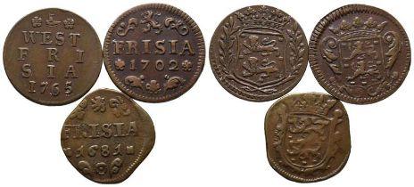Niederlande, Friesland, Lot von 3 verschiedenen Cu-Münzen