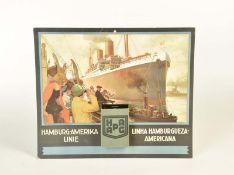 """Tafel mit Kalender """"HAPAG Hamburg-Amerika Linie"""""""