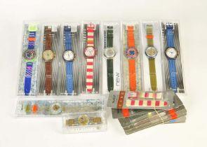 10 Swatch Uhren + 7 Armbänder