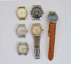 Dugena, Avia, Bulova, Royal, Junghans + Favor, 6 Armbanduhren