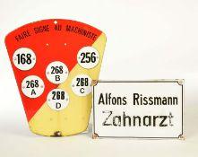"""Emailleschilder """"Zahnarzt"""" + """"Faire Signe au Machiniste"""""""