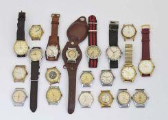 Kienzle, Cortina u.a., 20 Armbanduhren mit Mängeln (Ziffernblatt schmutzig, Glas beschädigt u.a.)