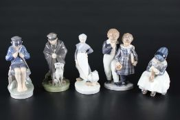 Royal Copenhagen 5 Porzellanfiguren, porcelain figures,